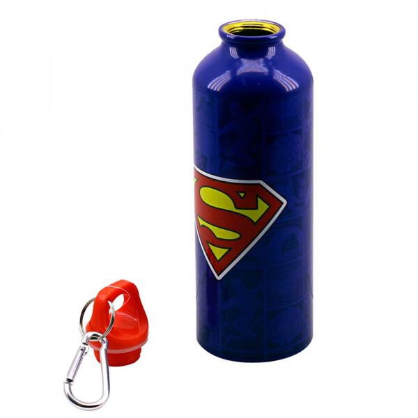 Garrafa De Alumínio Super Homem Com Prendedor 500ml