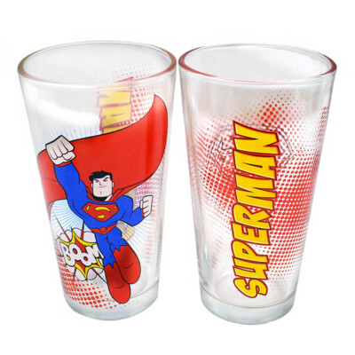 Jogo 2 Copos Superman Vidro 450ml