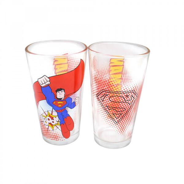 Jogo De Vidro Super Homem Com Dois Copos 450ml