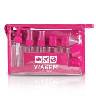 Kit De Frascos Viagem De 10 Peças Jacki Design Pink