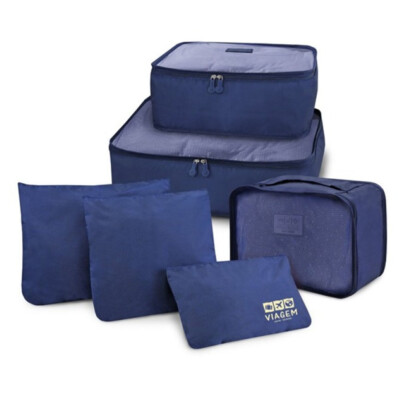 Kit Organizador De Malas De 6 Peças Jacki Design Azul