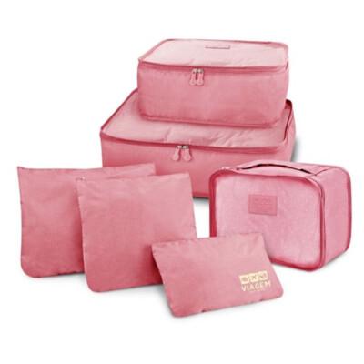 Kit Organizador De Malas De 6 Peças Jacki Design Rosa