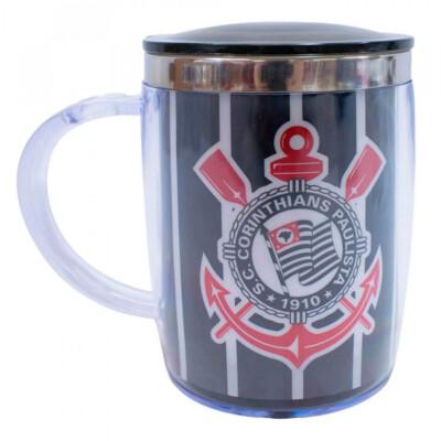 Caneca Térmica Logo Corinthians Com Tampa 450ml
