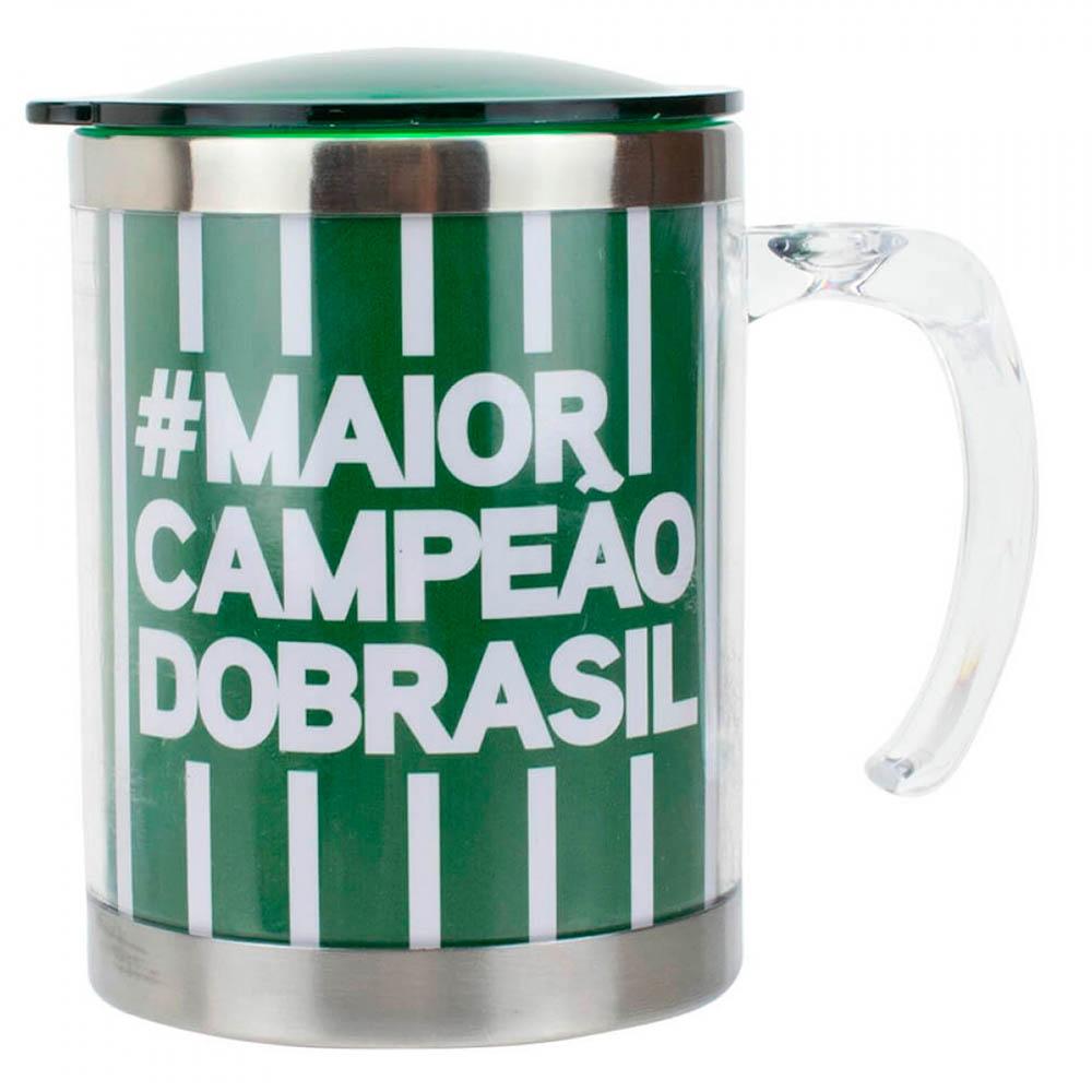 Caneca Térmica Palmeiras Com Tampa Listra 450ml