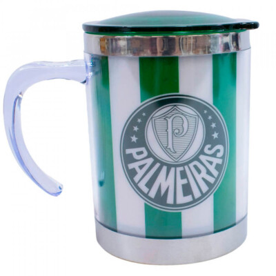 Caneca Térmica Palmeiras Com Tampa 450ml Listra