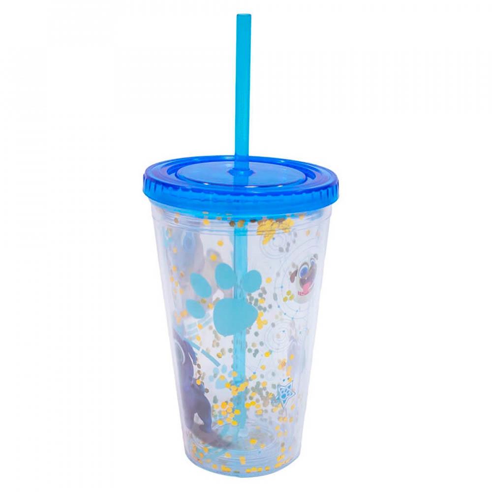 Copo Canudo Azul Bingo E Rolly 450ml