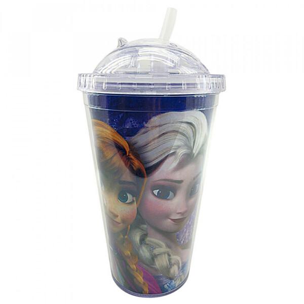 Copo Com Canudo Anna E Elsa Frozen 450ml