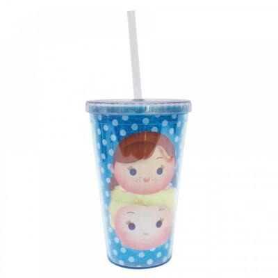 Copo Com Canudo Azul Anna E Elsa Frozen Tsum Tsum 450ml