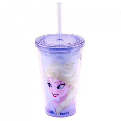 Copo Com Canudo Elsa 450ml Frozen