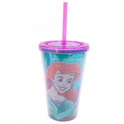 Copo Com Canudo Princesa Ariel 450ml