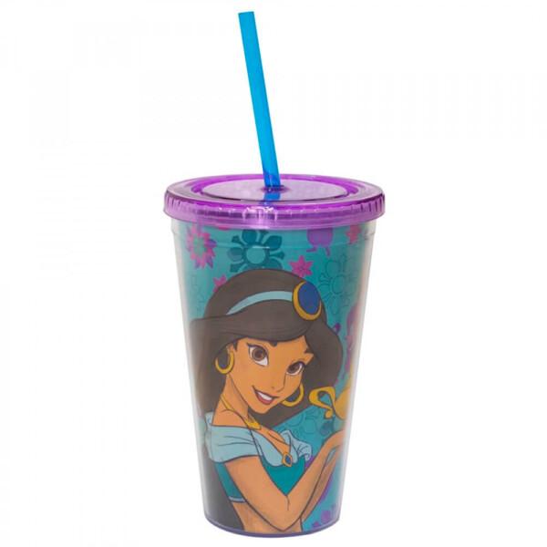 Copo Com Canudo Princesa Jasmine Aladdin 450ml