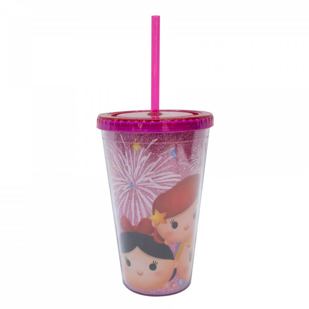 Copo Com Canudo Princesas Tsum Tsum 450ml