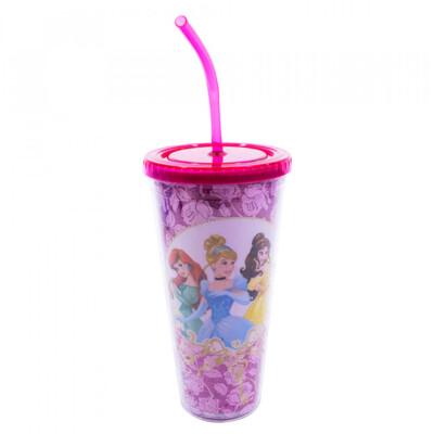 Copo Com Cubos De Gelo Princesas Rosas 600ml