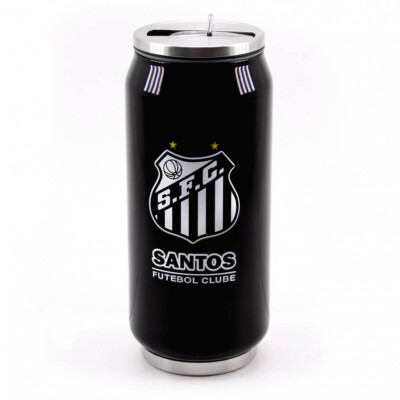Copo De Inox Santos Com Canudo 350ml