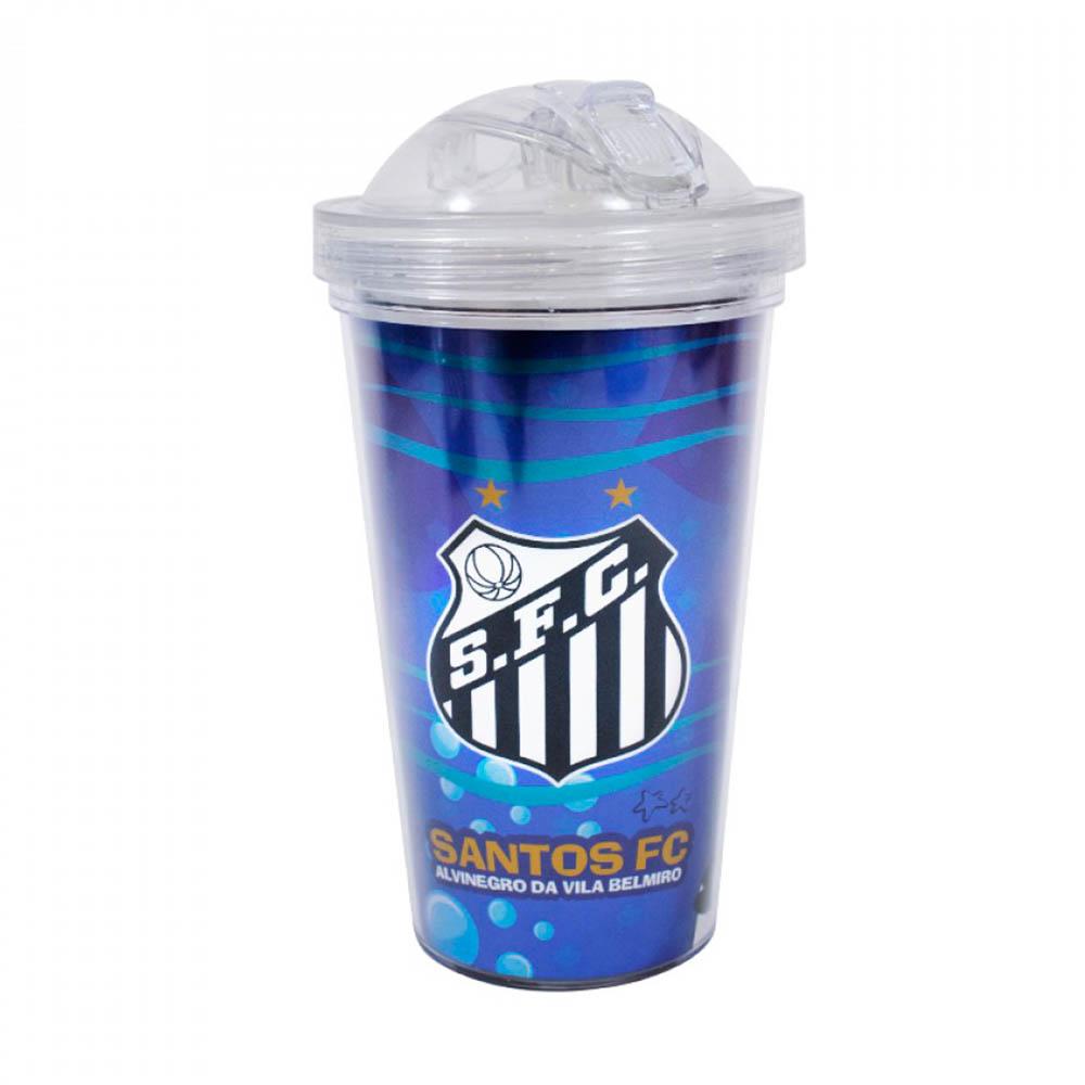 Copo De Plástico Santos Com Canudo 450ml