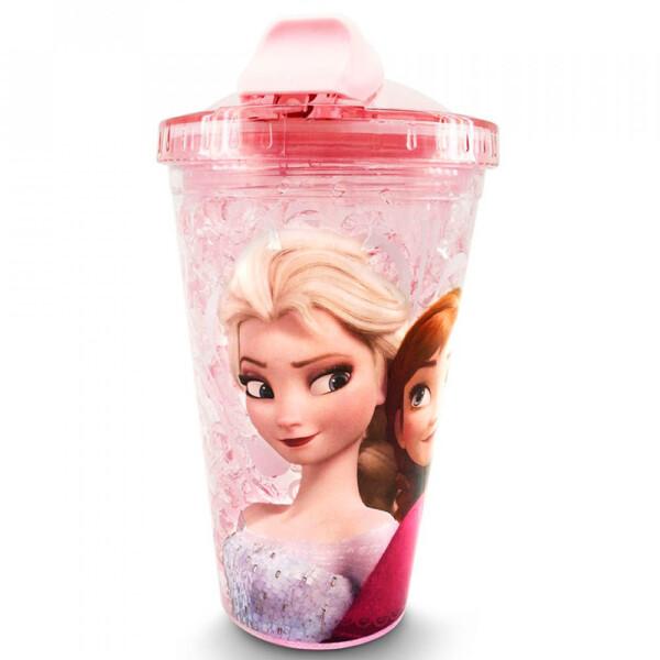 Copo Rosa Com Canudo E Tampa Gel Congelante Anna E Elsa Frozen 450ml