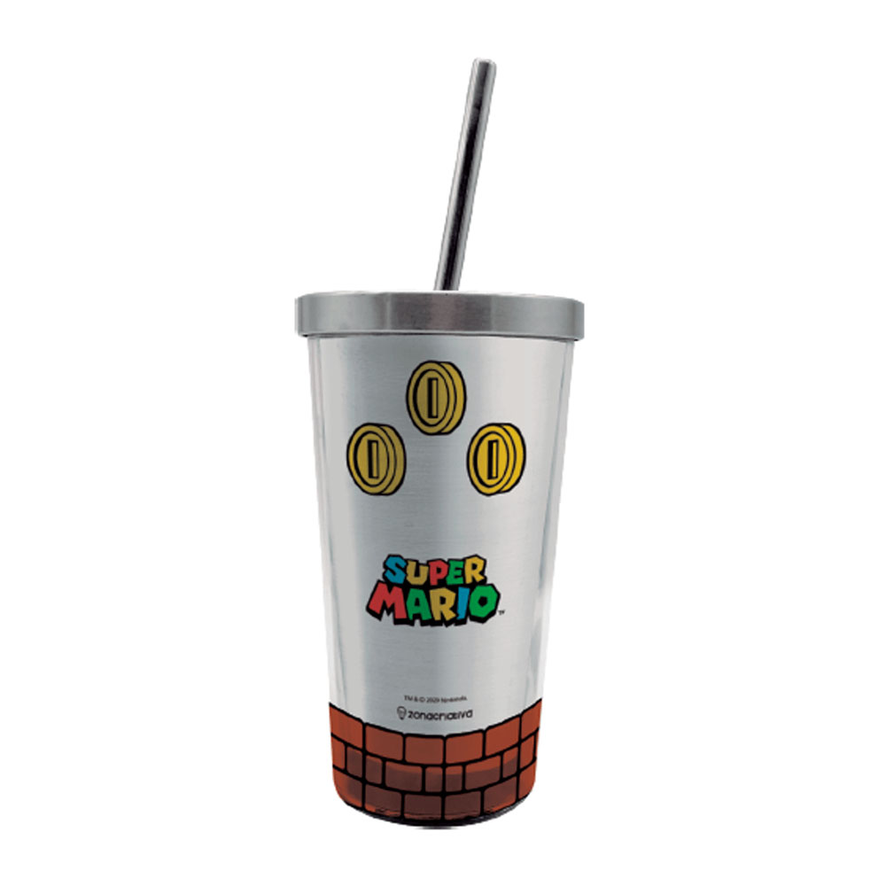 Copo Super Mario Coins Com Canudo 450ml