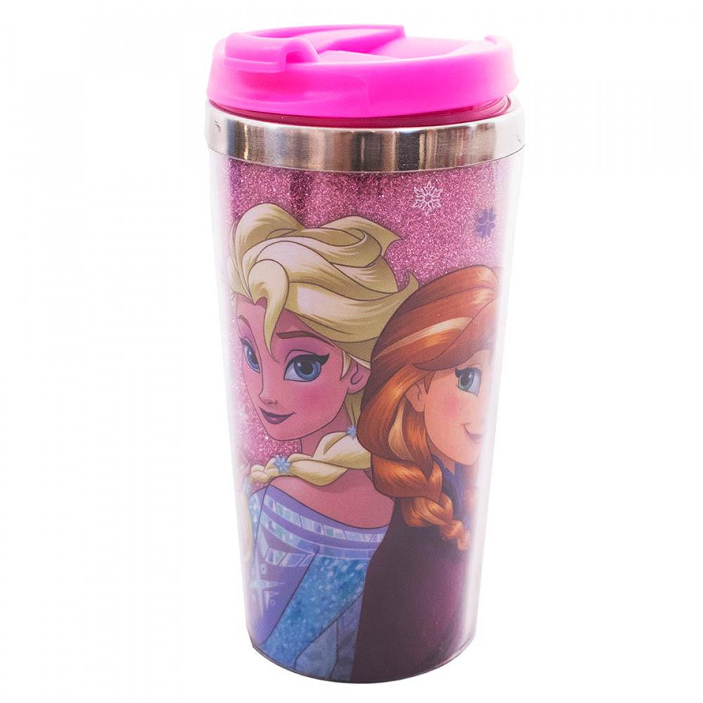 Copo Térmico Rosa Com Tampa Anna Elsa E Olaf Frozen 450ml