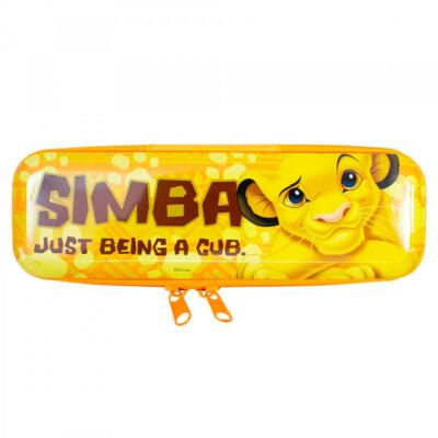 Estojo Metal Amarelo Simba Rei Leão 19x6cm