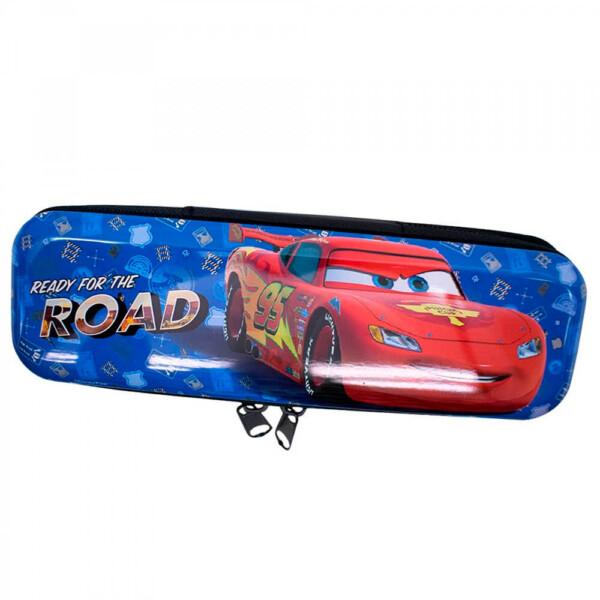Estojo Metal Azul Carros Relâmpago Mcqueen 19x6cm