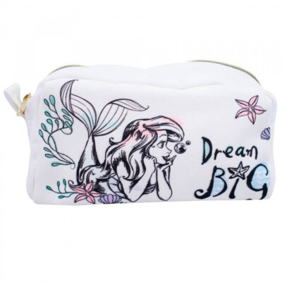 Necessaire Estojo Branco Sereia Ariel 22x10cm