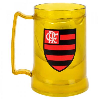 Caneca Gel Flamengo Congelante Térmico Amarelo 400ml