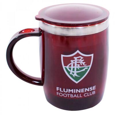 Caneca Térmica Fluminense Com Tampa Oval 450ml