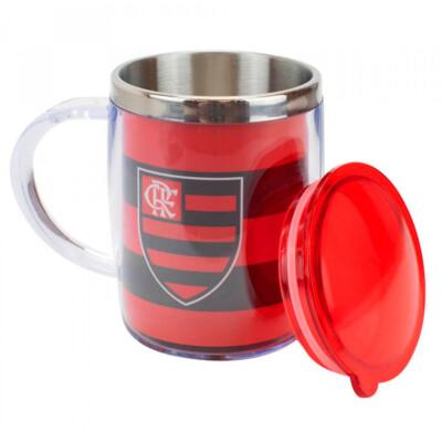 Caneca Térmica Flamengo Com Tampa Oval 450ml