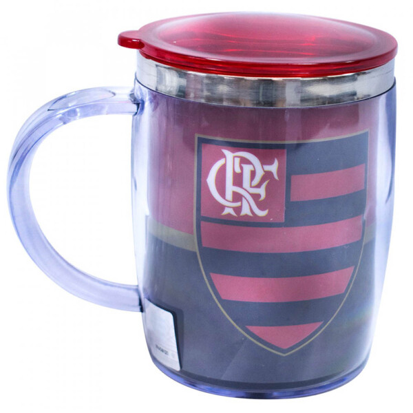 Caneca Térmica Flamengo Logo Com Tampa 450ml