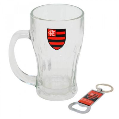 Caneca Vidro Flamengo Com Abridor Garrafas 450ml