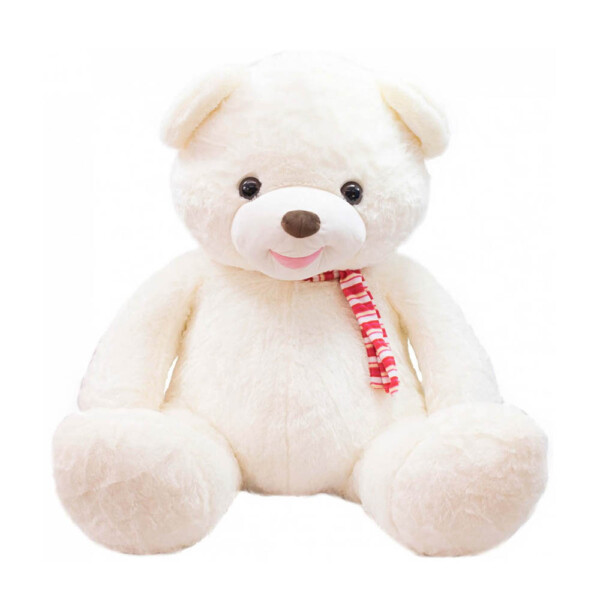 Pelúcia Urso Grande Com Laço 58cm Branco