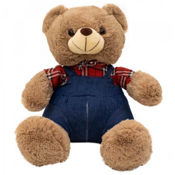 Pelúcia Urso Macacão Xadrez 48cm