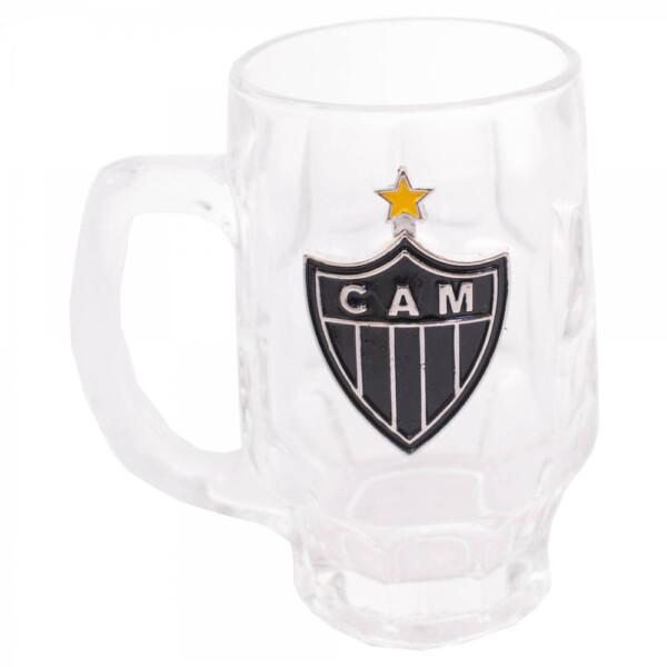 Caneca De Vidro Atlético Mineiro Com Brasão De Time 330ml