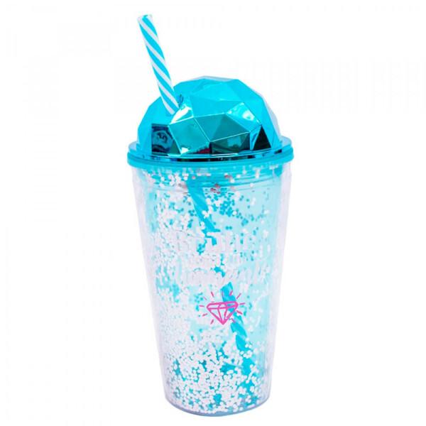 Copo Canudo Azul Semi Esfera Brilhe Como Um Diamante 450ml