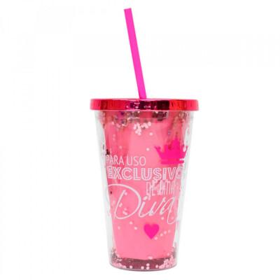 Copo Canudo Rosa Para Uso Exclusivo Diva 450ml