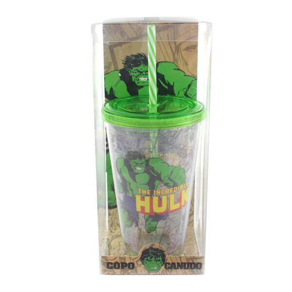 Copo Com Canudo Hulk The Incredible 500ml