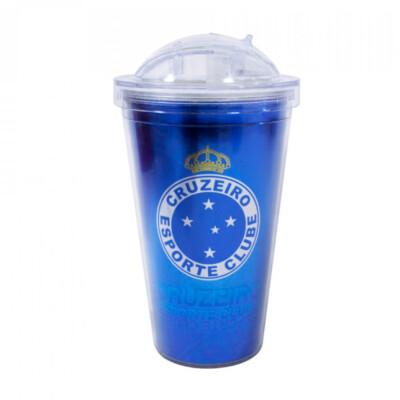Copo De Plástico Cruzeiro Com Canudo 450ml