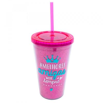 Copo Pink Com Canudo Melhores Amigas 450ml