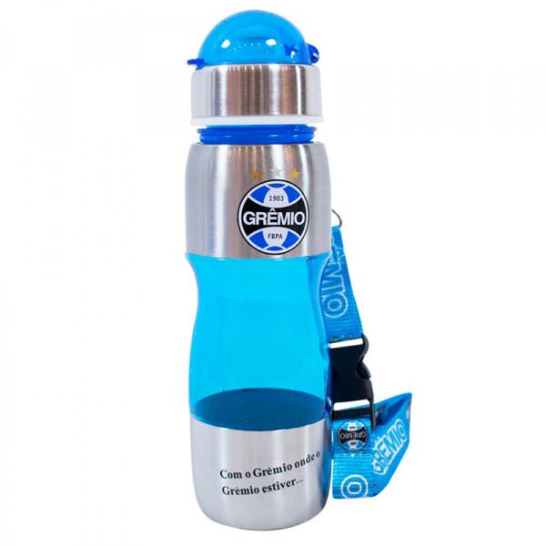 Garrafa Grêmio Plástico E Inox Azul Claro 600ml
