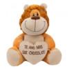 Pelúcia Leão Coração Amo Mais Que Chocolate 36cm