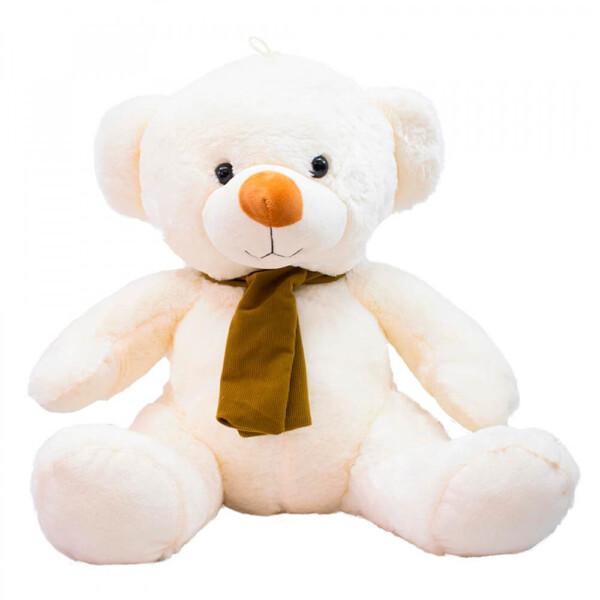 Pelúcia Urso Branco Cachecol Marrom 50cm