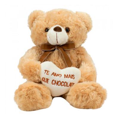 Pelúcia Urso Coração Amo Mais Que Chocolate 29cm