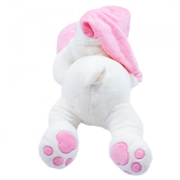Pelúcia Urso Dormindo Coração Rosa 46cm
