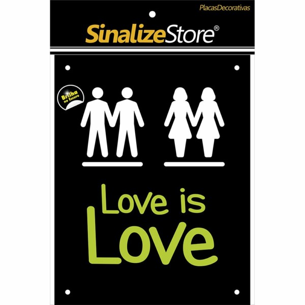 Placa Decorativa Love Is Love Sinalize
