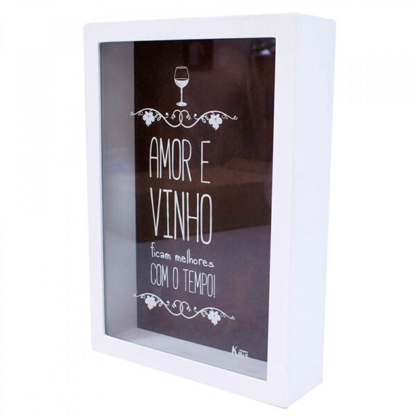 Porta Rolhas Branco Amor E Vinho Ficam Melhores Com O Tempo!