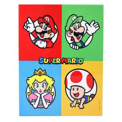 Quadro Metal Mario, Luigi, Peach E Mushroom 19x26cmquadro Metal Mario Luigi Peach E Mushroom 19×26